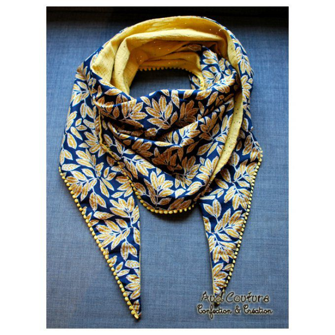Foulard triangle façon trendy - feuillage moutarde